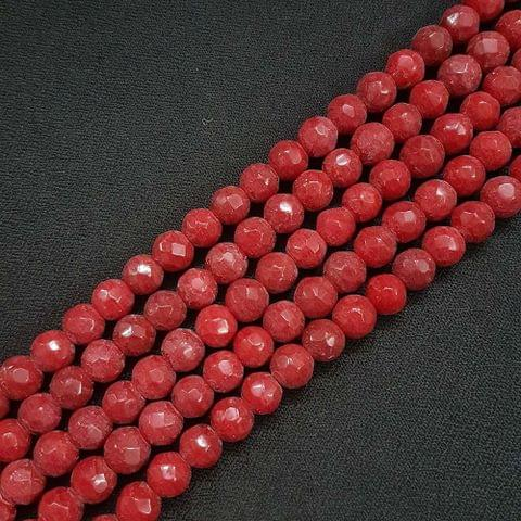 8mm Red Jade Faceted Beads, 2 Strings, 43+ Beads In Each String