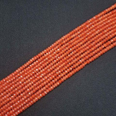 4mm, Orange Jade Stone Strings, Pack Of 2 Lines, 15 Inches ( 112+ beads )