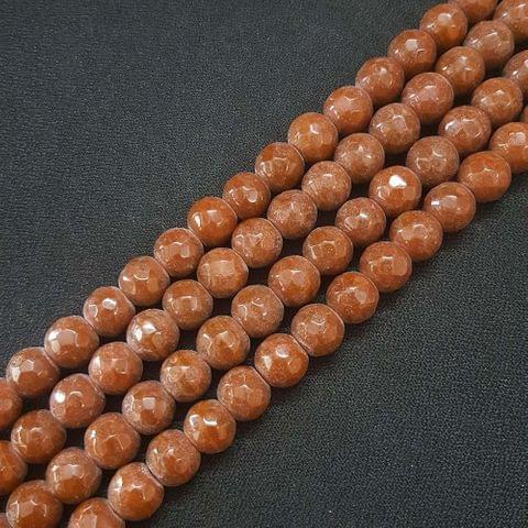 10mm Brown Jade Faceted Beads, 2 Strings, 35+ Beads In Each String