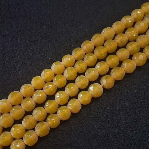 10mm Golden Jade Faceted Beads, 2 Strings, 35+ Beads In Each String