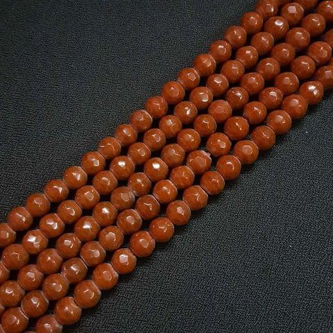 8mm Brown Jade Faceted Beads, 2 Strings, 43+ Beads In Each String