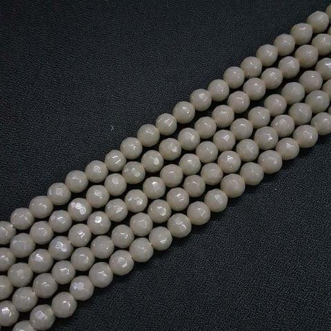 8mm Dark Grey Jade Faceted Beads, 2 Strings, 43+ Beads In Each String