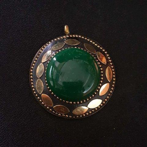 KTC, Green Colour Brass Metal Tibetan Pendant, 2.25 Inch