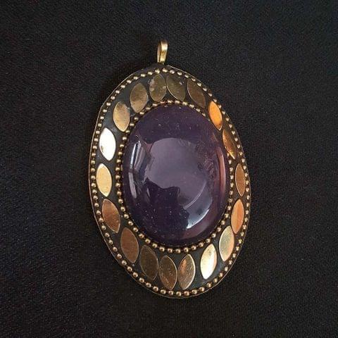 Purple Colour Brass Metal Tibetan Pendant, 2.75 Inch, 2 pendant