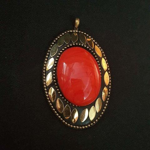 Orange Colour Brass Metal Tibetan Pendant, 2.75 Inch, 2 Pendant