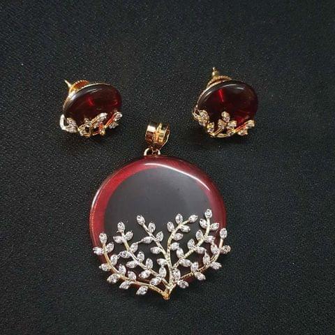 Maroon AD Pendant , Pendant - 2 Inch, Earring - 0.75 Inch