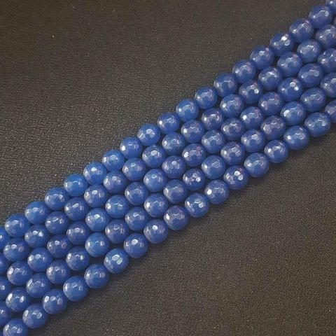 8mm, Blue Onyx Round Faceted Strings, 46+ Beads In Each Line, 15 Inch