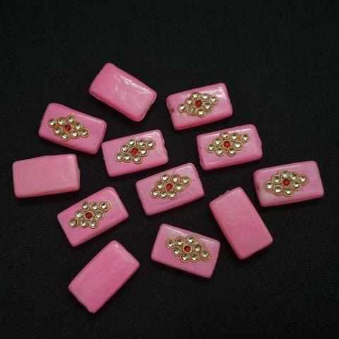 12 pieces, Baby Pink Kundan Stone Beads By KTC, 26x16 mm