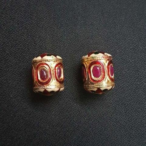 2 pcs, Traditional Jadau Dholak Shape Jewellery Making Beads, 17x23 mm