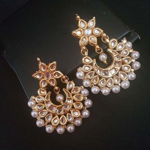 Kundan Meenakari With Pearl Beading Floral Style Chandbaali Earrings For Girls / Women
