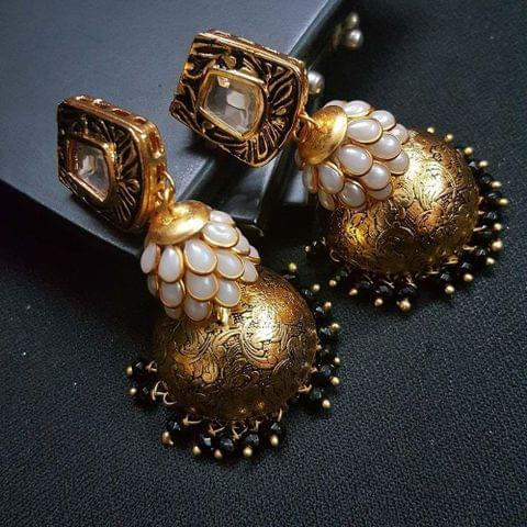 Black Kundan Meenakari White Pachhi Antique Oxidised Jhumki Earrings for Girls