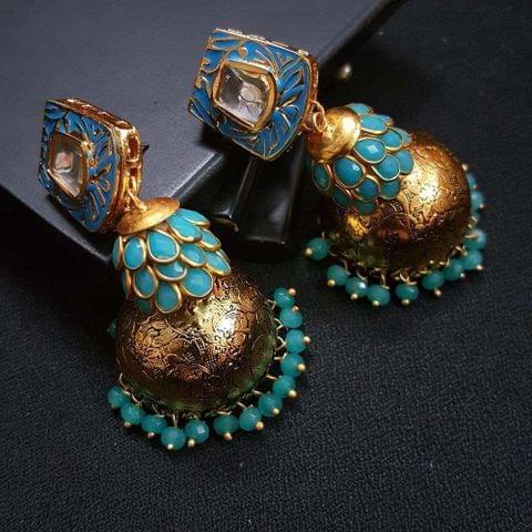 Blue Kundan Meenakari Pachhi Antique Oxidised Jhumki Earrings for Girls