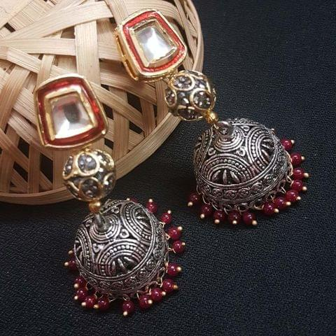 Kundan Meenakari With Antique Beads Jhumki Earrings For Girls / Women