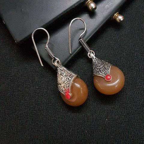 Designer Brown Stone Drop Earrings For Girls / Women