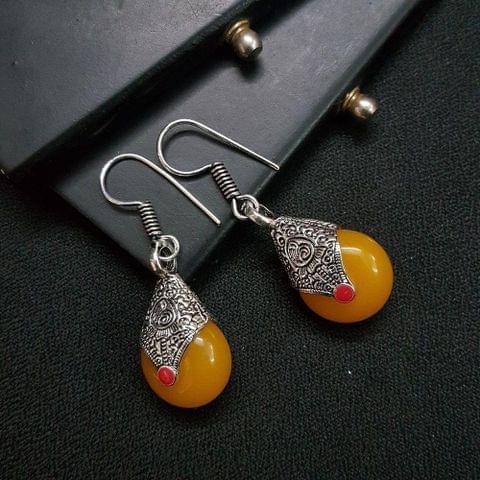 Designer Yellow Stone Drop Earrings For Girls / Women