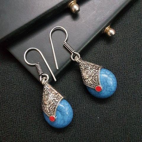 Designer Blue Stone Drop Earrings For Girls / Women