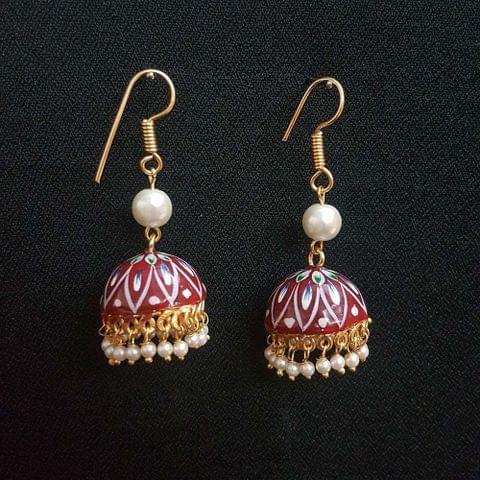 Maroon Painting Jhumki Drop Earrings For Girls / Women