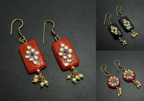Kundan Work Designer Earrings Combo
