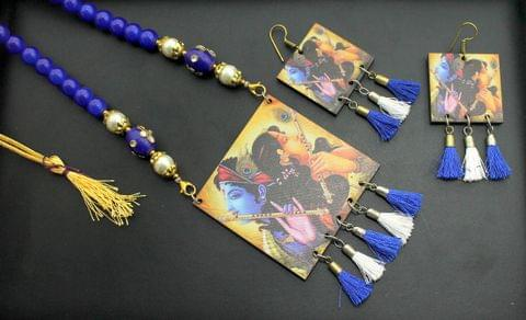 Desiger Navratri Radha Krishna Necklace Earrings Set Blue For Girls and Women