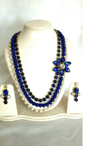 Beaded Blue Gold Tone Designer Earrings Navratri Special Jewelry Set