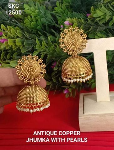 Earrings Gold Tone Jhumki Wedding Bridal Fashion New Year  Gift