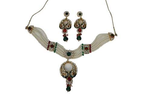 Peacock Pearl Pendant Set Maroon Green Earrings  Pendant Necklace  Earrings
