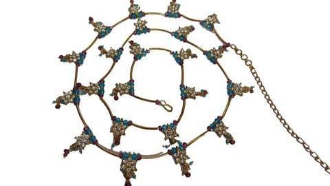 "Waist Chain Blue Maroon Gold Tone 34 ""Bridal Jewelry Indian"