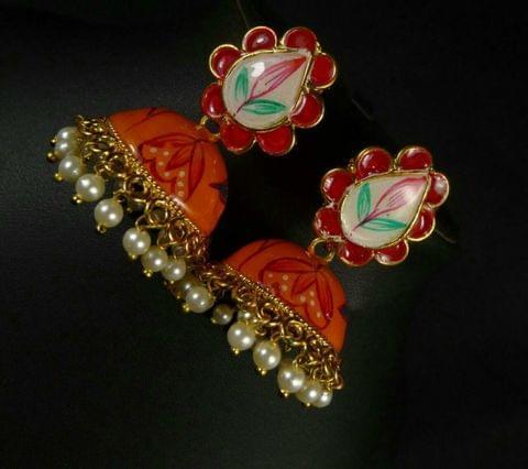 Meena Work Earrings Jhumki Orange Gold Tone fashion Indian Bridal