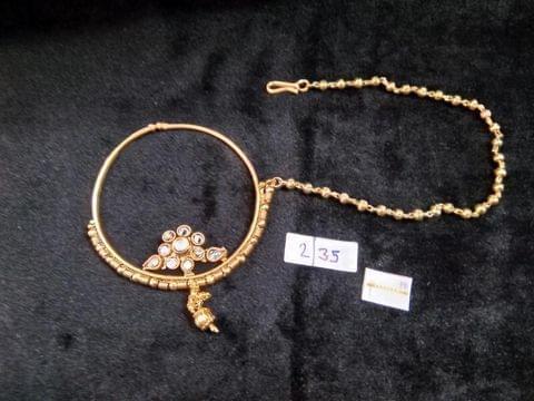 Nath Gold Tone Women Fashion Kundan Big Pearl