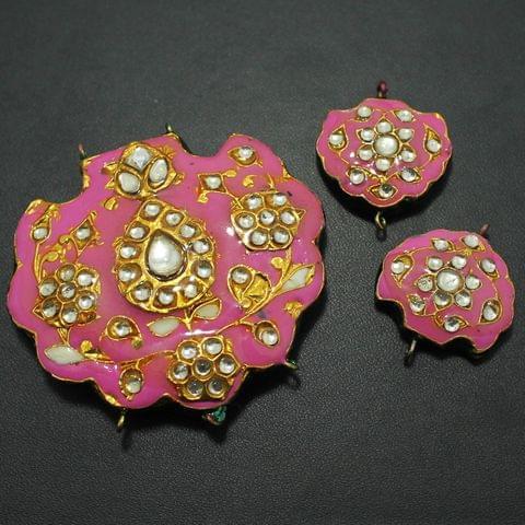 Pink Kundan Pendant and Earring Set 5x5.5cm