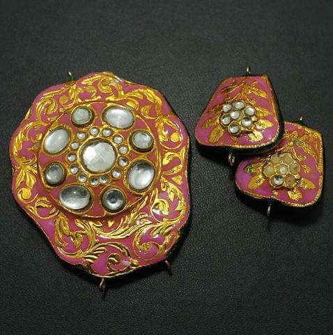 Pink Kundan Pendant and Earring Set 5.5x5cm
