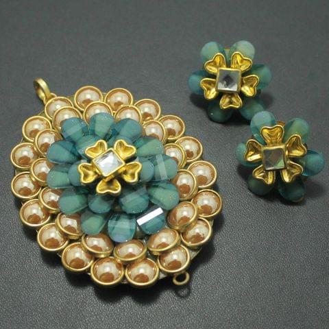 Sky Blue Takkar Work Pendant and Earring Set 6x4.5cm