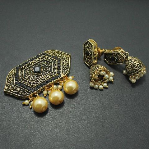 German Silver Kundan Pendant and Earring Set 4x5cm