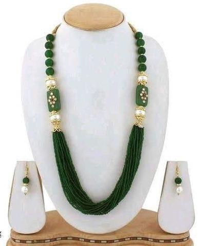 Glass Kundan Beaded Long Necklace Green For Girls