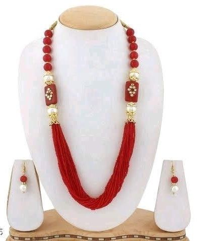 Glass Kundan Beaded Long Necklace Red For Girls