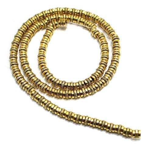 2 String German Silver Golden Beads 4x5mm