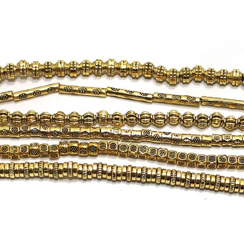 6 Assorted Strings German Silver Beads Golden 3-15mm