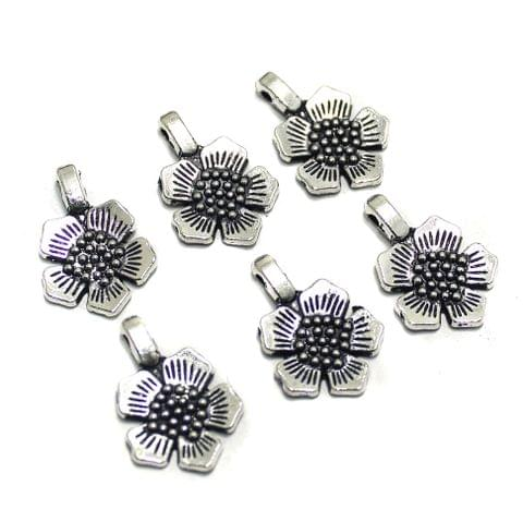 50 Pcs German Silver Flower Charms 22x15mm