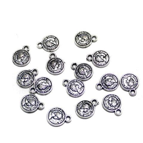 100 Pcs German Silver Queen Elizabeth Charms 11x8mm