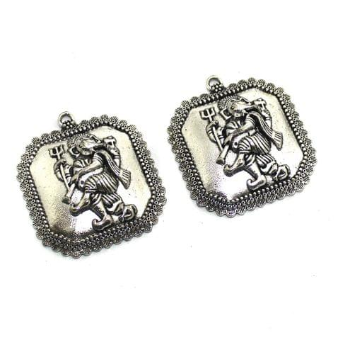 2 Pcs German Silver Dancing Ganesha Pendants 42x38mm
