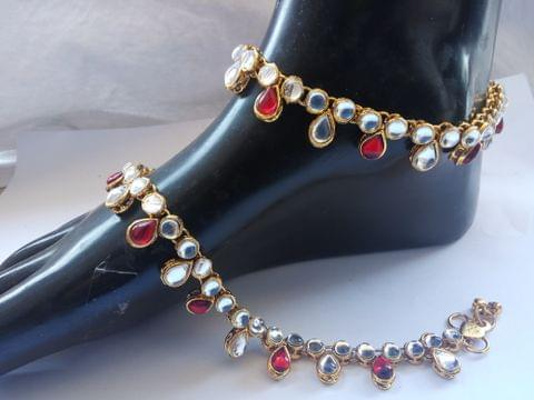 Anklet Payal Kundan Red White Gold Tone Indian Bollywood Navrtri Diwali Gift