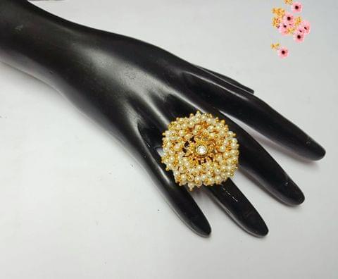 Ring Pearl Gold Tone Free Size wedding Bridal Cocktail Indian Diwali Gift