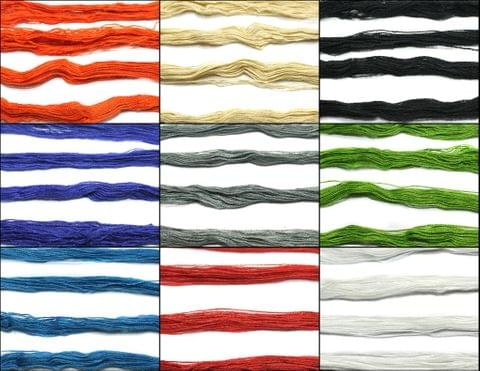 9 Bunch Colored Cotton Thread Combo Multicolor