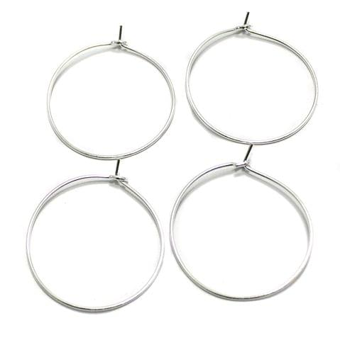 25 Pair Earring Component Silver 26 mm