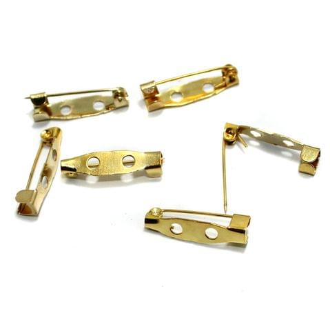 50 Brooch Pin Fittings Golden 20x5 mm