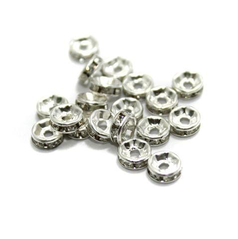 100 Pcs Rhinestone Disc Spacer Beads 6x2mm Silver