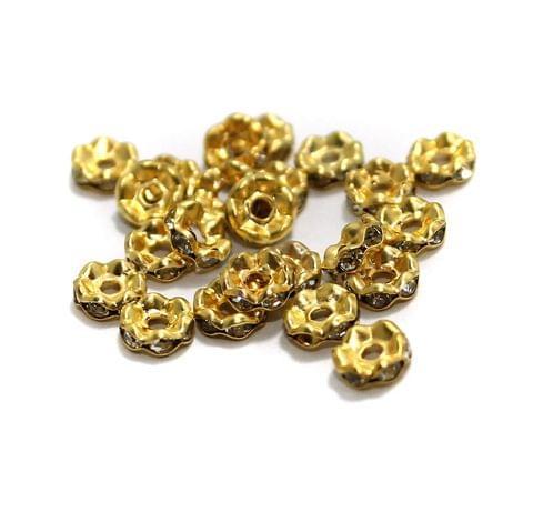 100 Pcs Rhinestone Disc Spacer Beads 6x2mm Golden