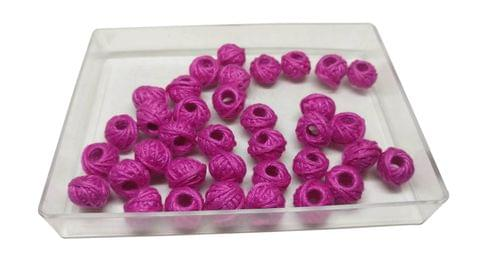 Aumni Crafts Handmade Cotton Thread Beads Ball Woven For Jewellery Making 13x10mm Drum (Pack of 50 pieces) [Color 1-> Pink]