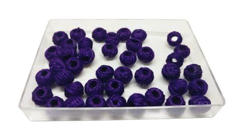 Handmade Cotton Thread Beads Ball For Jewellery Making 13x10mm Drum (Pack of 50 pieces) [Color 3-> Purple]