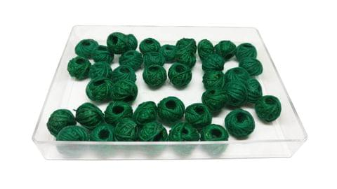 Aumni Crafts Handmade Cotton Thread Beads Ball For Jewellery Making 13x10mm Drum (Pack of 50 pieces) [Color 14-> Dark Green]